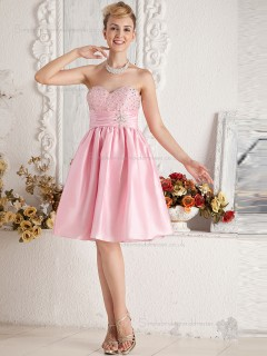 Pink Sweetheart Empire A-line Satin Knee-length Bridesmaid Dress