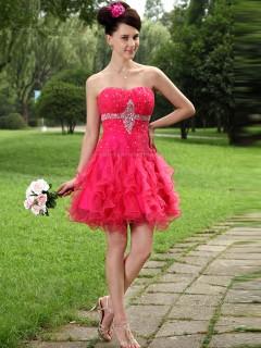 Watermelon Empire Sweetheart A-line Organza Short-length Bridesmaid Dress