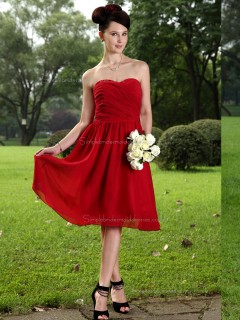 Burgundy Sweetheart Chiffon Knee-length A-line Natural Bridesmaid Dress