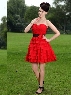 Red A-line Sweetheart Chiffon Short-length Empire Bridesmaid Dress