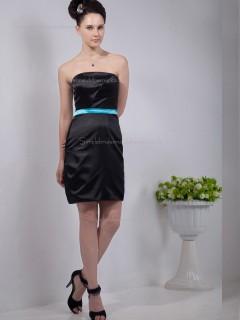 Black Strapless Satin Natural Column / Sheath Short-length Bridesmaid Dress