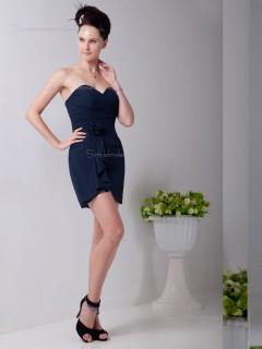 Dark Navy Empire Short-length Chiffon Column / Sheath Sweetheart Bridesmaid Dress