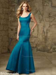 Cheap Blue Satin Floor-length Lace Bridesmaid Dress