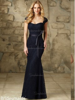 Discount Dark Navy Lace Floor-length Lace Bridesmaid Dress