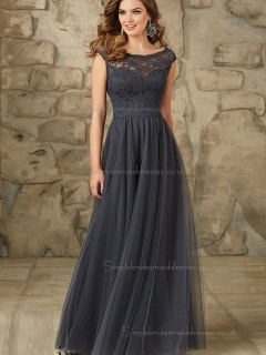 Discount Gray Tulle Floor-length Belt Bridesmaid Dress