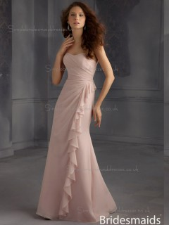 Discount Multicolor Indy Pink Chiffon Floor-length Lace Bridesmaid Dress