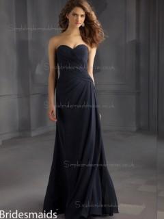 For Girls Dark Navy Chiffon Floor-length Ruched Bridesmaid Dress