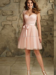 Forever Yours Indy Pink Tulle Short-length Beading Bridesmaid Dress