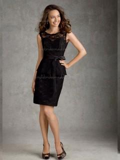 Modern Black Lace Short-length Belt Bridesmaid Dress