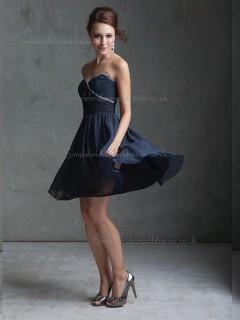 Online Dark Navy Chiffon Short-length Belt Bridesmaid Dress