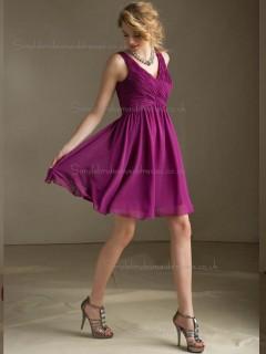 Online Multicolor Fuchsia Chiffon Short-length Belt Bridesmaid Dress