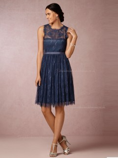 Best A-line Lace Navy Bridesmaid Dresses