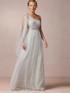 Stylish Beading One Shoulder Floor-length Bridesmaid Dresses