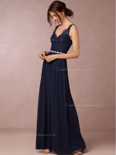 2016 Charming Chiffon V-neck Dark Navy Bridesmaid Dresses