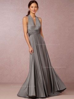 Striking Chiffon V-neck Silver A-line Bridesmaid Dresses