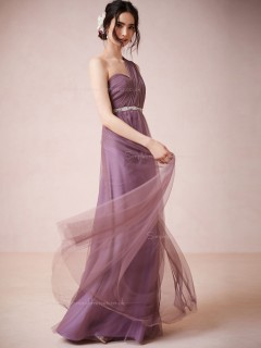 Graceful Sash One Shoulder Lilac Zipper Bridesmaid Dresses