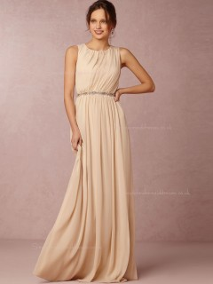 Imaginative Chiffon Champagne Sleeveless Floor-length Bridesmaid Dresses