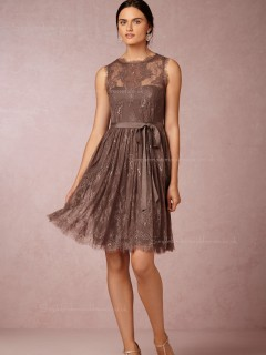 Laudable Lace A-line Brown Knee-length Empire Bridesmaid Dresses