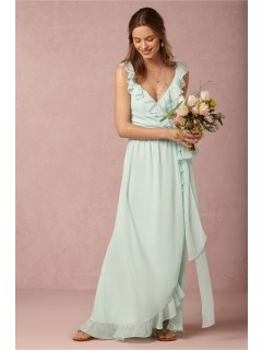Winsome green Chiffon V-neck Natural Bridesmaid Dresses