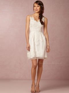 Affordable A-line Applique lace V-neck Bridesmaid Dresses