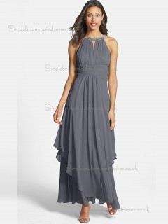 Online Beading Grey Chiffon Ankle Length Bridesmaid Dresses