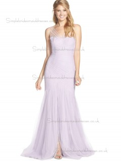 Vintage Pink Ruched Sweep Tulle Bridesmaid Dresses