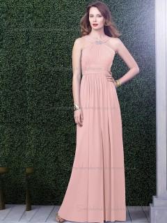 Multicolor Vintage Chiffon Pink Floor-length Bridesmaid Dresses
