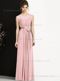 Multicolor Cheap Floor-length Sash Candy Pink Chiffon Bridesmaid Dresses