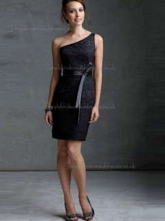 Cheap Amazing Mini Lace Black Sash Bridesmaid Dresses