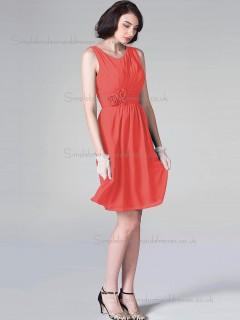 Gorgeous Watermelon Knee-length Chiffon Hand Made Flower Bridesmaid Dresses