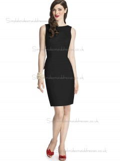 Elegant Best Knee-length Satin Black Bridesmaid Dresses