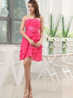 Celebrity Tiered Pink Chiffon Knee-length Bridesmaid Dresses