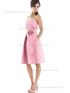 Online Satin Pink Hand Made Flower Short-length Bridesmaid Dresses