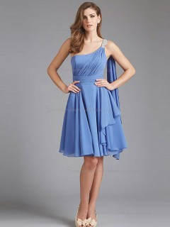 Beautiful Girls Chiffon Light Sky Blue Short-length Draped Bridesmaid Dresses