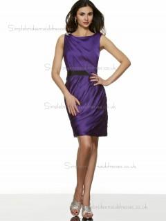UK Girls Short-length Satin Belt Regency Bridesmaid Dresses