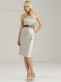 Beautiful Amazing Belt Champagne Satin Short-length Bridesmaid Dresses