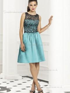Budget Best Short-length Blue Satin Lace Bridesmaid Dresses