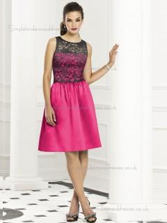 Girls Short-length Red Satin Lace Bridesmaid Dresses