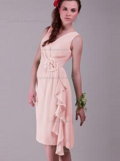 Budget Amazing Chiffon Short-length Hand Made Flower Pink Bridesmaid Dresses