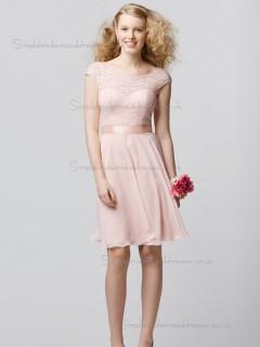 Cheap Stunning Short-length Lace Chiffon Belt Pink Bridesmaid Dresses