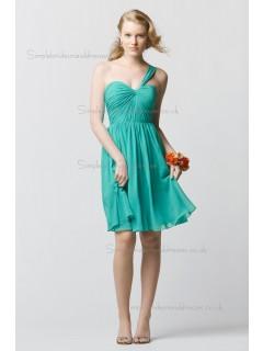 Vintage Romantica Draped Jade Short-length Chiffon Bridesmaid Dresses