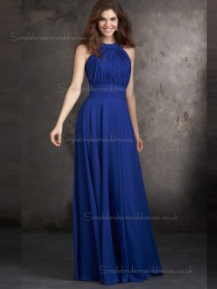 Beautiful Best Royal Blue Chiffon Floor-length Draped Bridesmaid Dresses