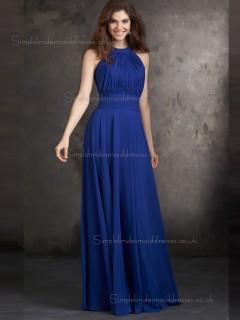 Beautiful Best Royal Blue Chiffon Floor-length Draped Bridesmaid Dresses