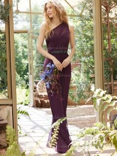 Elegant Girls Grape Chiffon Floor-length Belt Bridesmaid Dresses