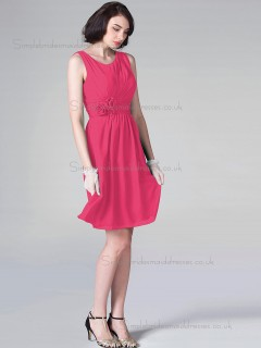 Budget Discount Short-length Hand Made Flower Hot Pink Chiffon Bridesmaid Dresses