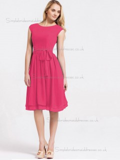 Beautiful Girls Chiffon Hot Pink Short-length Bow Bridesmaid Dresses