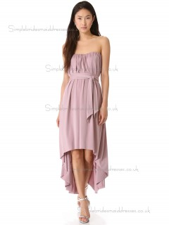 Elegant Best Tea-length Chiffon Belt Lilac Bridesmaid Dresses
