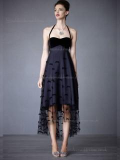 Budget Discount Tea-length Hand Made Flower Dark Navy Bridesmaid Dresses