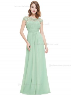 UK Stunning Green Chiffon Bateau A-line Floor-length Lace Empire Bridesmaid Dress