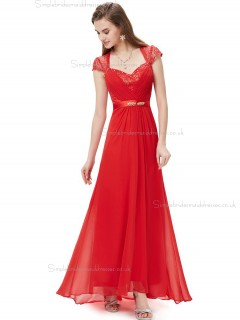 Vintage Red Chiffon V-neck A-line Floor-length Lace Beading Sash Empire Bridesmaid Dress